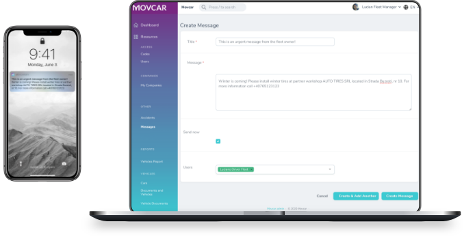 PC with movcar.app open and mobile with alerts on